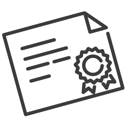 icon of a certificate with a ribbon on it