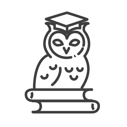 icon of an owl with a graduation cap on sitting on top of a stack of books